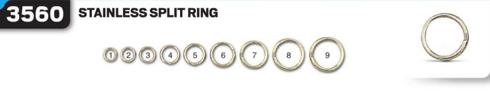Заводные кольца  VMC 3560 SPO № 1 (нерж. сталь) Ø5мм; тест- 6кг; 20шт. в уп. (3560SPO#1)