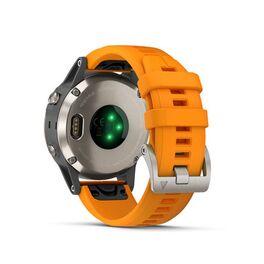 Мультиспортивные часы Garmin Fenix 5 PLUS Sapphire RUSSIA титан с оранжевым ремешком (010-01988-16) #4