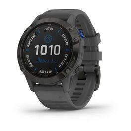 Мультиспортивные часы garmin fenix 6 pro solar с gps, черный с серым ремешком. Артикул: 010-02410-11