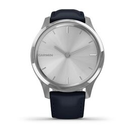 Часы с трекером активности Garmin VivoMove Luxe серебр. с итал. кож. синим ремешком (010-02241-20) #1