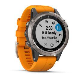 Мультиспортивные часы Garmin Fenix 5 PLUS Sapphire RUSSIA титан с оранжевым ремешком (010-01988-16) #2