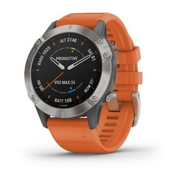 garmin fenix 6 sapphire часы с gps, титановый с оранжевым ремешком. Артикул: 010-02158-14