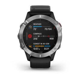 Мультиспортивные часы Garmin Fenix 6 с GPS, серебристые с черным ремешком (010-02158-00) #1