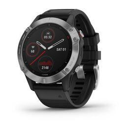 Мультиспортивные часы garmin fenix 6 с gps, серебристые с черным ремешком. Артикул: 010-02158-00