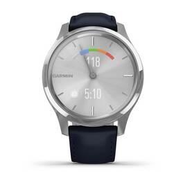 Часы с трекером активности Garmin VivoMove Luxe серебр. с итал. кож. синим ремешком (010-02241-20) #6