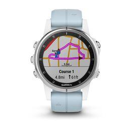 Мультиспортивные часы Garmin Fenix 5S PLUS Glass серебр./черн. с голуб. ремешком (010-01987-23) #1