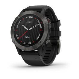 Мультиспортивные часы garmin fenix 6 sapphire с gps, серые с черным ремешком. Артикул: 010-02158-11