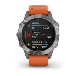 Мультиспортивные часы Garmin Fenix 6 Sapphire с GPS, титановый с оранжевым ремешком (010-02158-14) #3