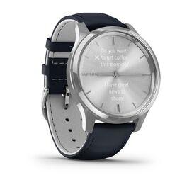 Часы с трекером активности Garmin VivoMove Luxe серебр. с итал. кож. синим ремешком (010-02241-20) #2
