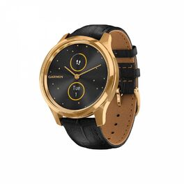 Часы с трекером активности garmin vivomove luxe золотисто-черные с кожаным ремешком. Артикул: 010-02241-22