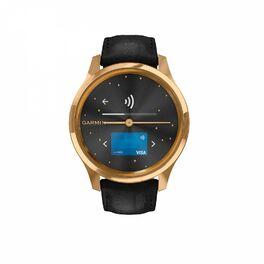 Часы с трекером активности Garmin VivoMove Luxe золотистые черные с кожаным ремешком (010-02241-22) #1