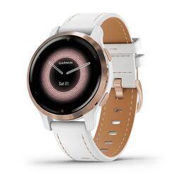 Смарт-часы garmin venu 2s, wi-fi, gps, белые, розовое золото, с кожаным ремешком. Артикул: 010-02429-23