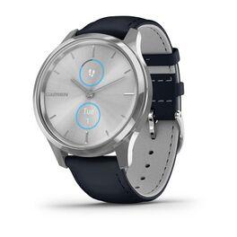 Часы с трекером активности garmin vivomove luxe серебр. с итал. кож. синим ремешком. Артикул: 010-02241-20