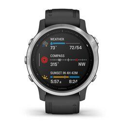 Мультиспортивные часы Garmin Fenix 6S с GPS, серебристые с черным ремешком (010-02159-01) #1
