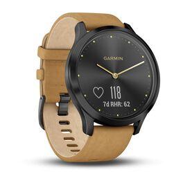 Часы с трекером активности Garmin VivoMove HR Premium, черные, кожа светло-коричн. (010-01850-00) #1