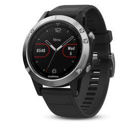 garmin fenix 5 часы с gps серебристые с черным ремешком. Артикул: 010-01688-03