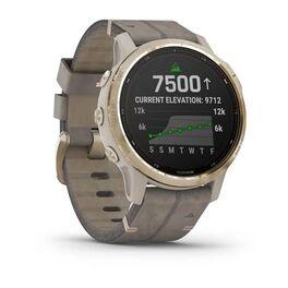 Мультиспортивные часы Garmin Fenix 6S Pro Solar GPS, золотист. с серым замш. ремешком (010-02409-26) #1