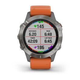 Мультиспортивные часы Garmin Fenix 6 Sapphire с GPS, титановый с оранжевым ремешком (010-02158-14) #5