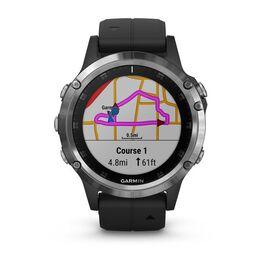 Мультиспортивные часы Garmin Fenix 5 PLUS Glass RUSSIA серебристые с черным ремешком (010-01988-17) #1