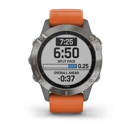 Мультиспортивные часы Garmin Fenix 6 Sapphire с GPS, титановый с оранжевым ремешком (010-02158-14) #1