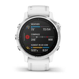 Мультиспортивные часы Garmin Fenix 6S с GPS, серебристые с белым ремешком (010-02159-00) #1