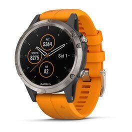 Мультиспортивные часы Garmin Fenix 5 PLUS Sapphire RUSSIA титан с оранжевым ремешком (010-01988-16) #1