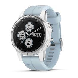Спортивные часы garmin fenix 5s plus белые с голубым ремешком Garmin. Артикул: 010-01987-23