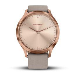 Смарт-часы garmin vivomove hr розовое золото с бежевым кожаным ремешком. Артикул: 010-01850-09