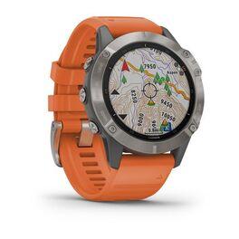 Мультиспортивные часы Garmin Fenix 6 Sapphire с GPS, титановый с оранжевым ремешком (010-02158-14) #2