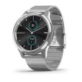Часы с трекером активности garmin vivomove luxe серебристые с серебристым ремешком. Артикул: 010-02241-23