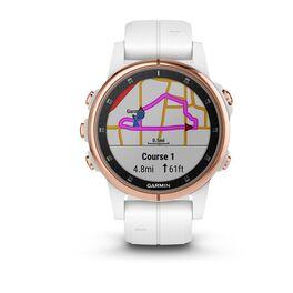 Мультиспортивные часы Garmin Fenix 5S PLUS Sapphire черные/роз.золото с бел. ремешком (010-01987-07) #1