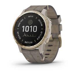 Мультиспортивные часы garmin fenix 6s pro solar gps, золотист. с серым замш. ремешком. Артикул: 010-02409-26