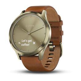 Смарт-часы garmin vivomove hr золотые со светло-коричневым кожаным ремешком. Артикул: 010-01850-25