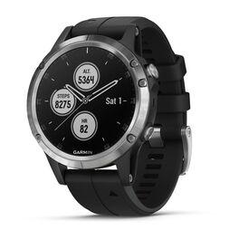 Мультиспортивные часы garmin fenix 5 plus glass russia серебристые с черным ремешком. Артикул: 010-01988-17