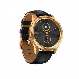 Часы с трекером активности Garmin VivoMove Luxe золотистые черные с кожаным ремешком (010-02241-22) #2