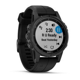 Мультиспортивные часы Garmin Fenix 5S PLUS Sapphire черные с черным ремешком (010-01987-03) #1