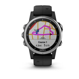 Мультиспортивные часы Garmin Fenix 5S PLUS Glass серебр. с черным ремешком (010-01987-21) #1