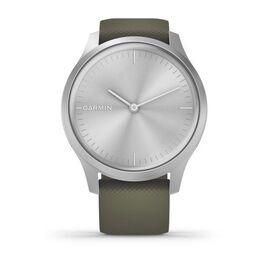 Часы с трекером активности Garmin VivoMove Style серебристый с травяным ремешком (010-02240-21) #1