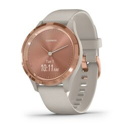 Часы с трекером активности garmin vivomove 3s, розовое золото с песочным ремешком. Артикул: 010-02238-22