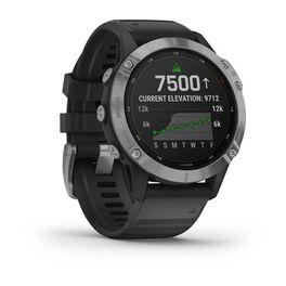 Мультиспортивные часы Garmin Fenix 6 Solar с GPS, серебристые с черным ремешком (010-02410-00) #1