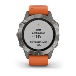 Мультиспортивные часы Garmin Fenix 6 Sapphire с GPS, титановый с оранжевым ремешком (010-02158-14) #7