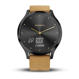 Часы с трекером активности Garmin VivoMove HR Premium, черные, кожа светло-коричн. (010-01850-00) #2