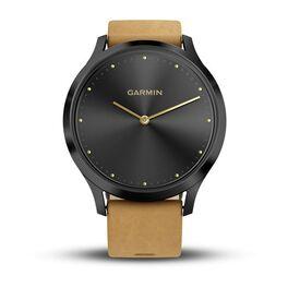 Смарт-часы garmin vivomove hr черный оникс с светло-коричневым кожаным ремешком. Артикул: 010-01850-00