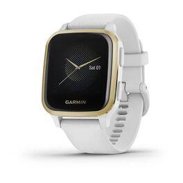 Смарт-часы garmin venu sq nfc белый с золотистым алюминиевым безелем и с силиконовым ремешком. Артикул: 010-02427-11