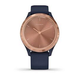 Часы с трекером активности Garmin VivoMove 3S, роз. золото с темно-синим ремешком (010-02238-23) #1