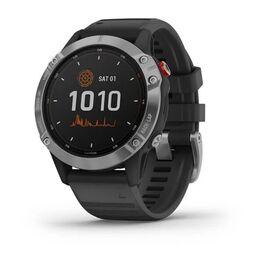 Мультиспортивные часы garmin fenix 6 solar с gps, серебристые с черным ремешком. Артикул: 010-02410-00